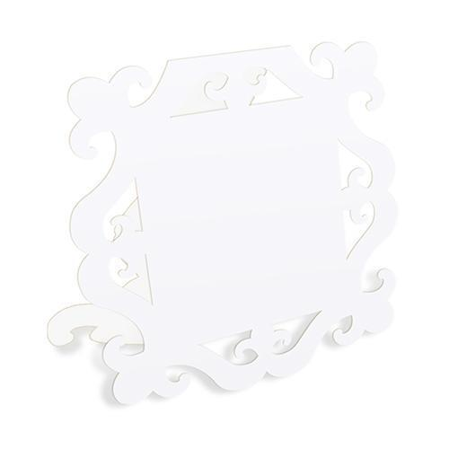 Laser Expressions Square Baroque Frame Folded Place Card - White (12) (Pack of 12)-Weddingstar-JadeMoghul Inc.