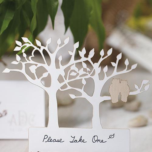 Laser Expressions Tree Silhouette With Owls Die Cut Card - White (Pack of 12)-Weddingstar-JadeMoghul Inc.