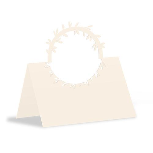 Laser Expressions Wreath Folded Place Card Ivory (Pack of 1)-Weddingstar-JadeMoghul Inc.