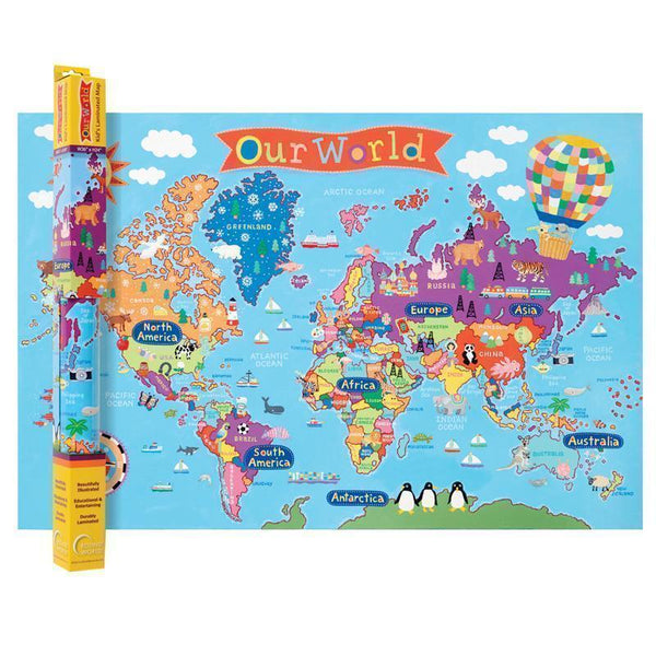 WORLD MAP FOR KIDS-Learning Materials-JadeMoghul Inc.