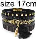 leather bracelet 6 color bracelets summer charm bracelets Bohemian bracelets&bangles for women gift wholesale jewelry B1627-black size 17CM-JadeMoghul Inc.