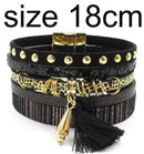 leather bracelet 6 color bracelets summer charm bracelets Bohemian bracelets&bangles for women gift wholesale jewelry B1627-black size 18CM-JadeMoghul Inc.