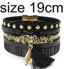 leather bracelet 6 color bracelets summer charm bracelets Bohemian bracelets&bangles for women gift wholesale jewelry B1627-black size 19CM-JadeMoghul Inc.