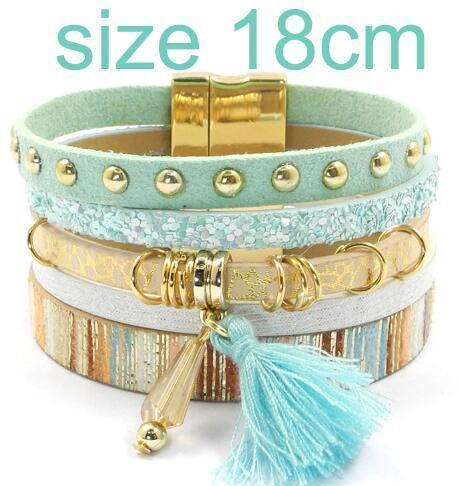 leather bracelet 6 color bracelets summer charm bracelets Bohemian bracelets&bangles for women gift wholesale jewelry B1627-blue size 18CM-JadeMoghul Inc.