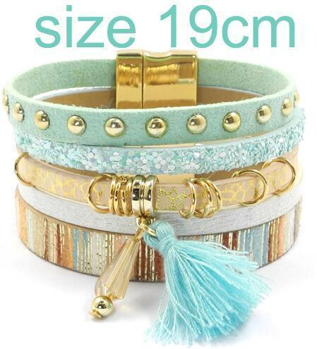 leather bracelet 6 color bracelets summer charm bracelets Bohemian bracelets&bangles for women gift wholesale jewelry B1627-blue size 19CM-JadeMoghul Inc.
