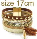 leather bracelet 6 color bracelets summer charm bracelets Bohemian bracelets&bangles for women gift wholesale jewelry B1627-brown size 17CM-JadeMoghul Inc.