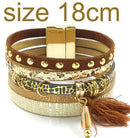 leather bracelet 6 color bracelets summer charm bracelets Bohemian bracelets&bangles for women gift wholesale jewelry B1627-brown size 18CM-JadeMoghul Inc.