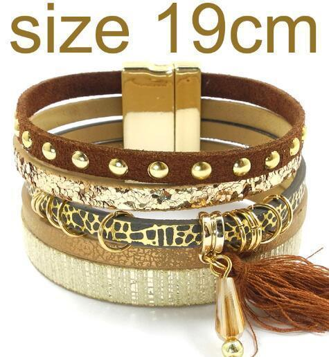 leather bracelet 6 color bracelets summer charm bracelets Bohemian bracelets&bangles for women gift wholesale jewelry B1627-brown size 19CM-JadeMoghul Inc.
