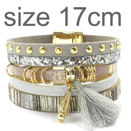 leather bracelet 6 color bracelets summer charm bracelets Bohemian bracelets&bangles for women gift wholesale jewelry B1627-gray size 17CM-JadeMoghul Inc.