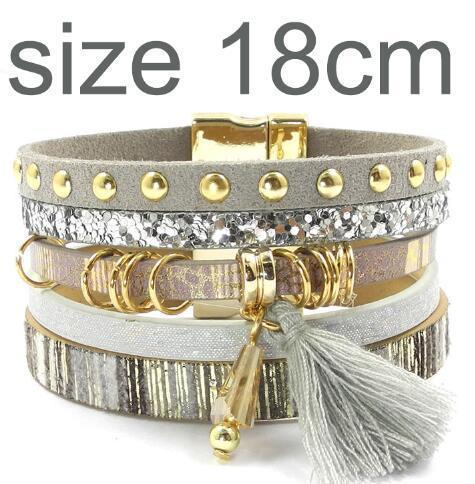 leather bracelet 6 color bracelets summer charm bracelets Bohemian bracelets&bangles for women gift wholesale jewelry B1627-gray size 18CM-JadeMoghul Inc.