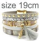 leather bracelet 6 color bracelets summer charm bracelets Bohemian bracelets&bangles for women gift wholesale jewelry B1627-gray size 19CM-JadeMoghul Inc.