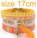 leather bracelet 6 color bracelets summer charm bracelets Bohemian bracelets&bangles for women gift wholesale jewelry B1627-orange size 17CM-JadeMoghul Inc.