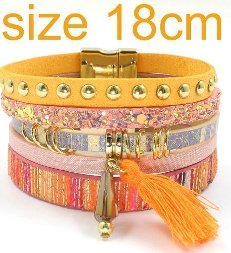 leather bracelet 6 color bracelets summer charm bracelets Bohemian bracelets&bangles for women gift wholesale jewelry B1627-orange size 18CM-JadeMoghul Inc.