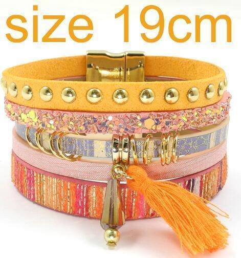leather bracelet 6 color bracelets summer charm bracelets Bohemian bracelets&bangles for women gift wholesale jewelry B1627-orange size 19CM-JadeMoghul Inc.