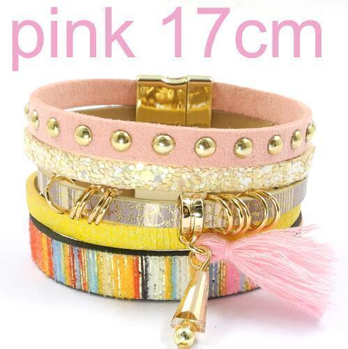 leather bracelet 6 color bracelets summer charm bracelets Bohemian bracelets&bangles for women gift wholesale jewelry B1627-pink size 17CM-JadeMoghul Inc.