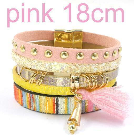 leather bracelet 6 color bracelets summer charm bracelets Bohemian bracelets&bangles for women gift wholesale jewelry B1627-pink size 18CM-JadeMoghul Inc.