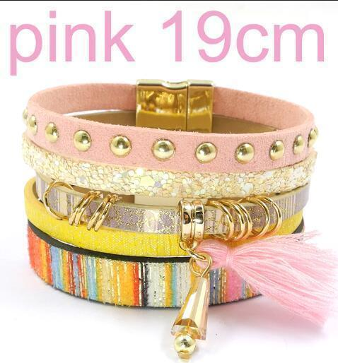 leather bracelet 6 color bracelets summer charm bracelets Bohemian bracelets&bangles for women gift wholesale jewelry B1627-pink size 19CM-JadeMoghul Inc.