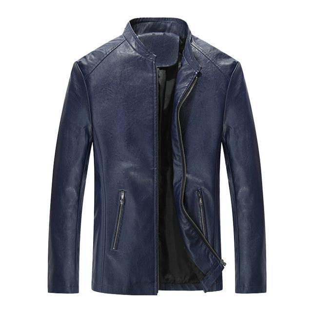 Leather Jacket For Men - Casual Slim Men Jacket-dark blue-S-JadeMoghul Inc.