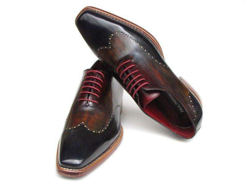Leather Shoes Paul Parkman (FREE Shipping) Men's Wingtip Oxford Goodyear Welted Navy Red Black PP