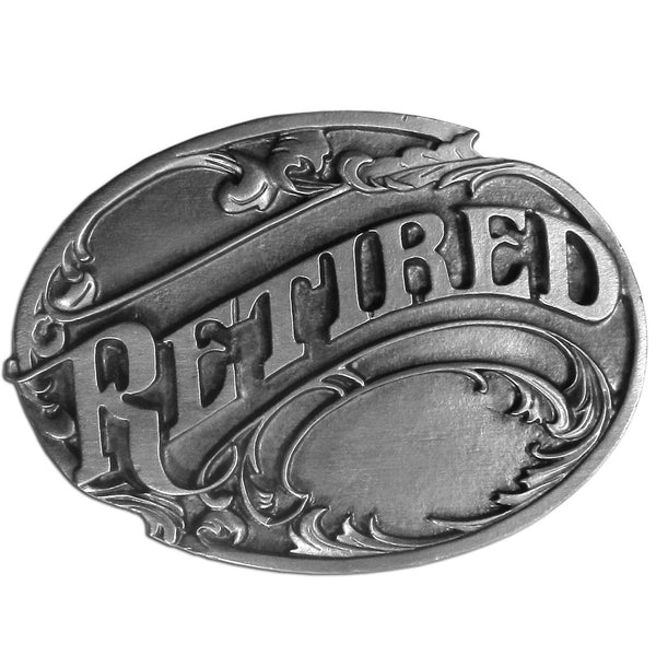 Licensed Sports Originals-Occupations-Retired - Retired Antiqued Belt Buckle-Jewelry & Accessories,Buckles,Antiqued Buckles-JadeMoghul Inc.