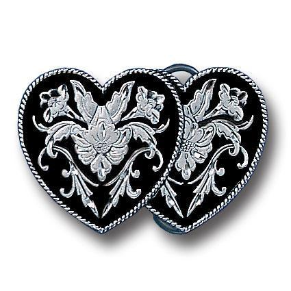 Licensed Sports Originals-Western-Fashion - Double Heart (Diamond Cut) Enameled Belt Buckle-Jewelry & Accessories,Buckles,Enameled Buckles,-JadeMoghul Inc.