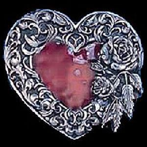 Licensed Sports Originals-Western-Fashion - Heart Rose and Western Scroll Border Enameled Belt Buckle-Jewelry & Accessories,Buckles,Enameled Buckles,-JadeMoghul Inc.