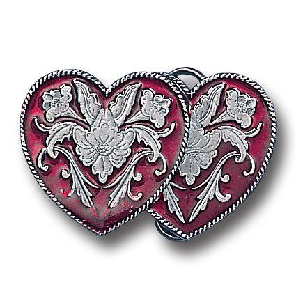 Licensed Sports Originals-Western-Fashion - Western Double Heart Enameled Belt Buckle-Jewelry & Accessories,Buckles,Enameled Buckles,-JadeMoghul Inc.