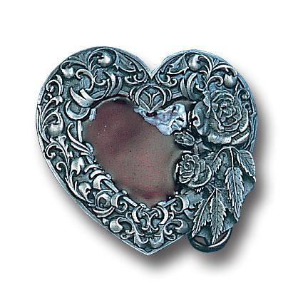 Licensed Sports Originals-Western-Fashion - Western Heart/Rose Enameled Belt Buckle-Jewelry & Accessories,Buckles,Enameled Buckles,-JadeMoghul Inc.