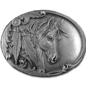 Licensed Sports Originals-Western-Horses - Horse Head and Feather Antiqued Belt Buckle-Jewelry & Accessories,Buckles,Antiqued Buckles-JadeMoghul Inc.