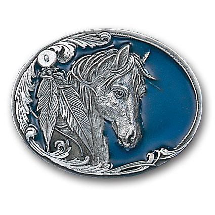 Licensed Sports Originals-Western-Horses - Horse Head and Feather Enameled Belt Buckle-Jewelry & Accessories,Buckles,Enameled Buckles-JadeMoghul Inc.