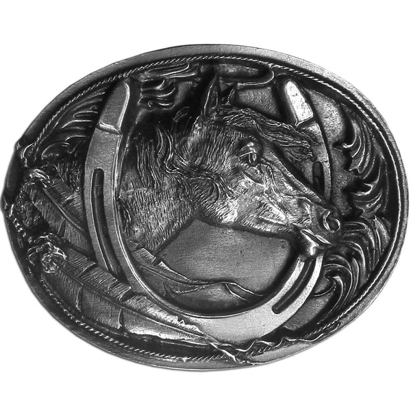 Licensed Sports Originals-Western-Horses - Horse Head Antiqued Belt Buckle-Jewelry & Accessories,Buckles,Antiqued Buckles-JadeMoghul Inc.
