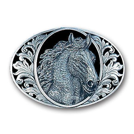 Licensed Sports Originals-Western-Horses - Horse Head with Western Scroll Enameled Belt Buckle-Jewelry & Accessories,Buckles,Enameled Buckles,-JadeMoghul Inc.