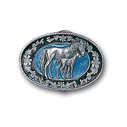 Licensed Sports Originals-Western-Horses - Mare with Colt Enameled Belt Buckle-Jewelry & Accessories,Buckles,Enameled Buckles,-JadeMoghul Inc.