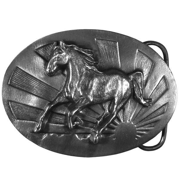Licensed Sports Originals-Western-Horses - Running Horse Antiqued Belt Buckle-Jewelry & Accessories,Buckles,Antiqued Buckles-JadeMoghul Inc.