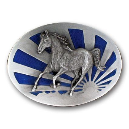 Licensed Sports Originals-Western-Horses - Running Horse Enameled Belt Buckle-Jewelry & Accessories,Buckles,Enameled Buckles,-JadeMoghul Inc.