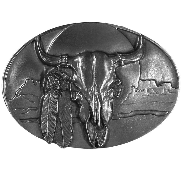 Licensed Sports Originals-Western-Skulls - Buffalo Skull/Feathers Antiqued Belt Buckle-Jewelry & Accessories,Buckles,Antiqued Buckles-JadeMoghul Inc.