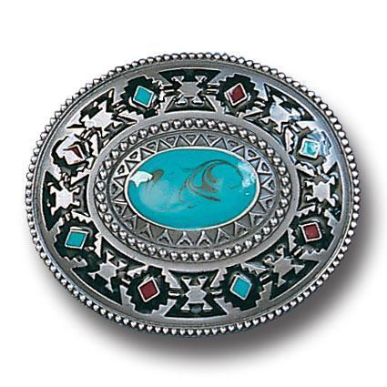 Licensed Sports Originals-Western-Southwestern - Southwestern Design with Torquoise Color Accent Enameled Belt Buckle-Jewelry & Accessories,Buckles,Enameled Buckles,-JadeMoghul Inc.