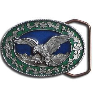 Licensed Sports Originals-Western-Wildlife - Small Eagle Small Belt Buckle-Jewelry & Accessories,Buckles,Enameled Buckles,-JadeMoghul Inc.
