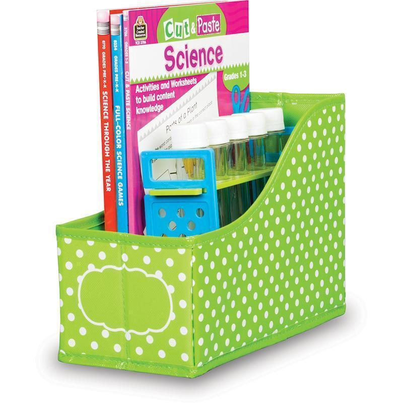 LIME POLKA DOTS BOOK BIN-Learning Materials-JadeMoghul Inc.