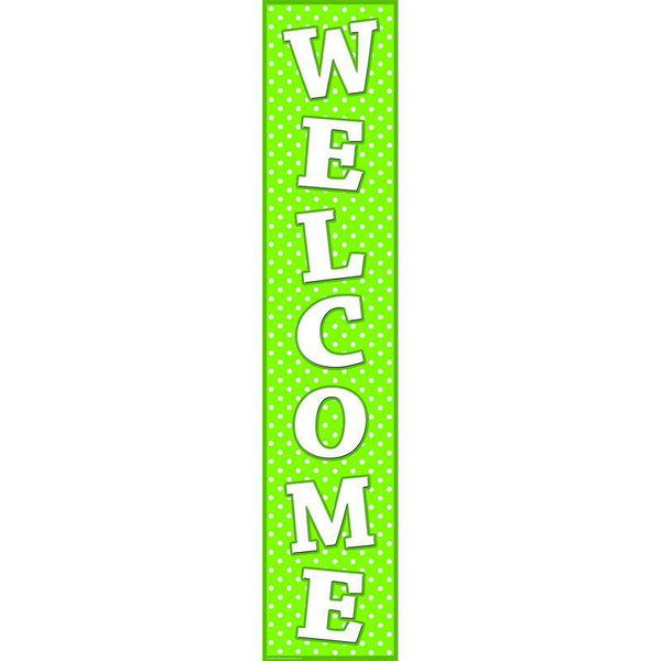 LIME POLKA DOTS WELCOME BANNER-Learning Materials-JadeMoghul Inc.