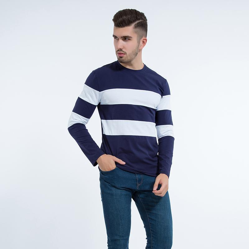 Liseaven 2017 New Autumn Winter Mens Long Sleeve T-Shirt O Neck Striped T Shirt for Men-Black-M-JadeMoghul Inc.