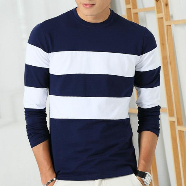 Liseaven 2017 New Autumn Winter Mens Long Sleeve T-Shirt O Neck Striped T Shirt for Men-Blue-M-JadeMoghul Inc.