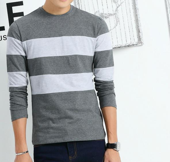 Liseaven 2017 New Autumn Winter Mens Long Sleeve T-Shirt O Neck Striped T Shirt for Men-Gray-M-JadeMoghul Inc.
