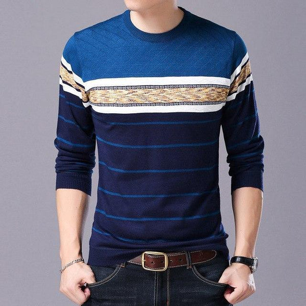 Liseaven Men Sweater O-Neck Casual Striped Sweaters Autumn Winter Brand Mens Pullovers-Blue-XXL-JadeMoghul Inc.