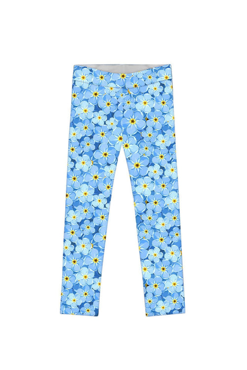 Little Forget-Me-Not Lucy Blue Floral Print Knit Legging - Girls-Forget-Me-Not-JadeMoghul Inc.