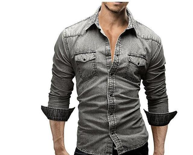 Long Sleeve Denim Shirt / Casual Slim Fit Shirt-Gray-Asia L 170CM 65KG-JadeMoghul Inc.