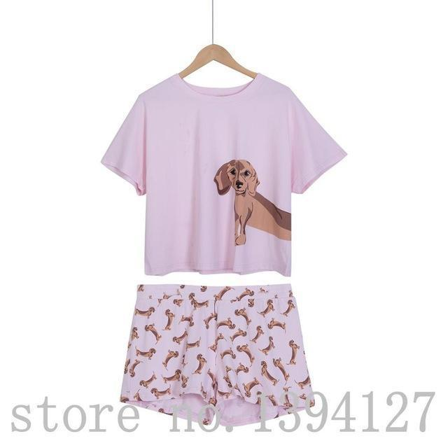 Loose Pajama Sets Women Cute Dachshund Print 2 Pieces Set Cotton T shirt Top + Shorts Elastic Waist Plus Size White Pink S6706-Pink dachshund set-S-JadeMoghul Inc.