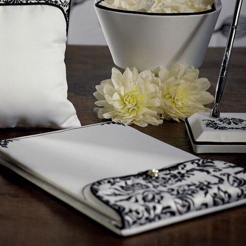 Love Bird Damask in Classic Black and White Guest Book (Pack of 1)-Wedding Reception Accessories-JadeMoghul Inc.