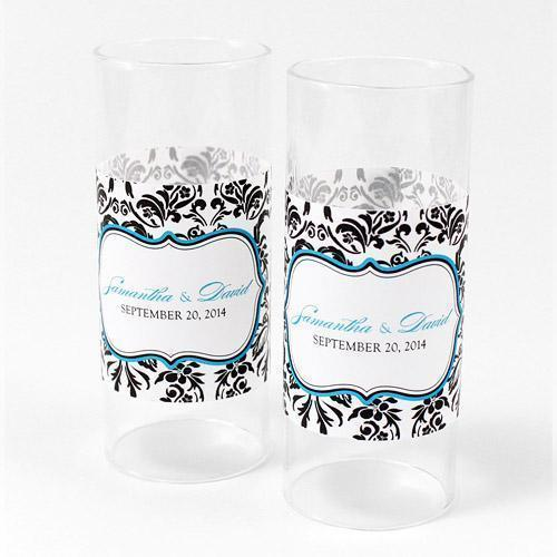 Love Bird Damask Mini Luminary Wrap Berry (Pack of 1)-Reception Stationery-Navy Blue-JadeMoghul Inc.
