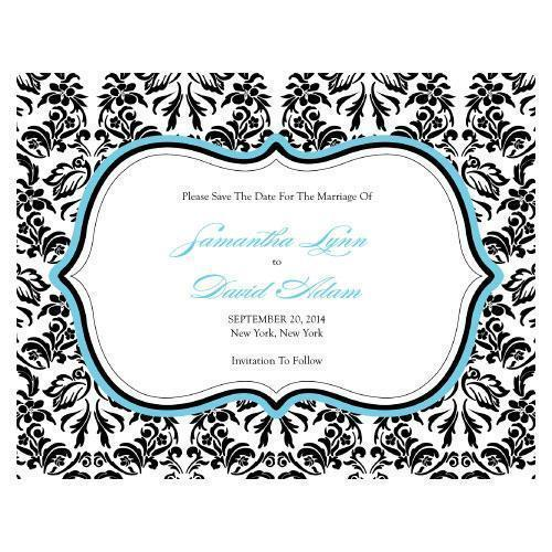 Love Bird Damask Save The Date Card Berry (Pack of 1)-Weddingstar-Sea Blue-JadeMoghul Inc.